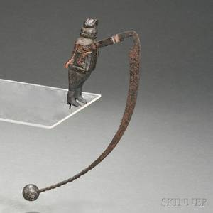 Carved Wood and Iron Figural Balance Toy