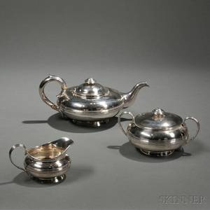 Assembled Threepiece George IVWilliam IV Sterling Silver Tea Service