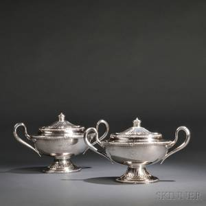 Pair of George IIIstyle Sterling Silver Sauce Tureens and Covers