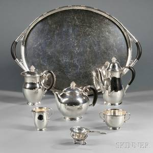 Fivepiece Georg Jensen Sterling Silver Tea and Coffee Service with Associated Sterling Silver Tray and Tea Strainer with Stand