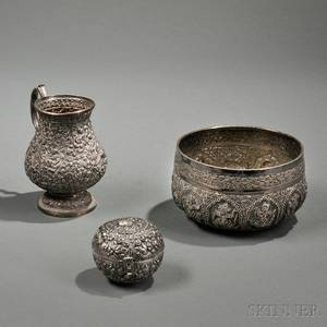 Three Pieces of Middle Eastern or Indian Silver Hollowware