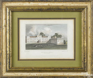Two English color engravings of Welbeck Abbey and Antrim Castle