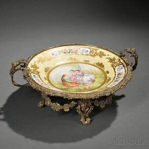Sevresstyle Giltbronzemounted Handpainted Porcelain Charger