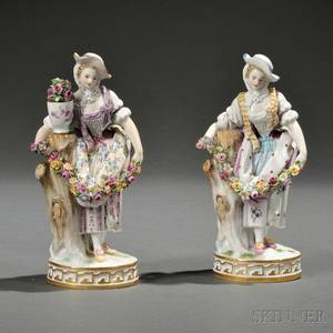 Two Meissen Porcelain Figures of Women