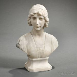 Italian School Early 20th Century Alabaster Bust of a Young Woman