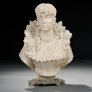 Alabaster Bust of a Woman Wearing a Lace Collar