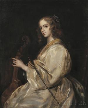 After Sir Anthony van Dyck Flemish 15991641 Young Woman Playing a Viola da Gamba