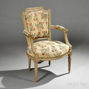 Six Louis XVIstyle Painted Beechwood Fauteuil