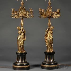Pair of Giltbronze Figural Lamps