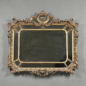 Parcelgilt and Polychrome Painted Overmantel Mirror