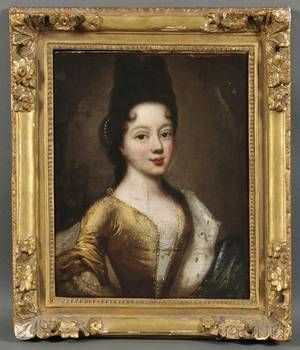 Continental School 17th Century Portrait of a Young Woman in Yellow