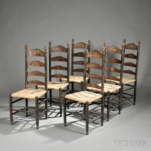 Six Continental Polychrome Painted Ladderback Side Chairs