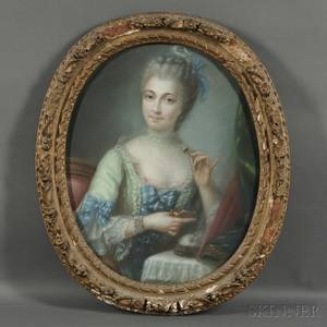 French School 18th19th Century Portrait of a Lady in Green at her Toilette possibly Madame Pompadour