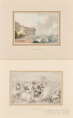 Two Unframed 18th Century Works on Paper Attributed to Dominic Serres French working in England 17221793 Rescue from Shore in