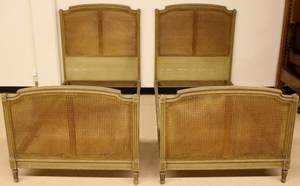 Pair of French Painted  Caned Twin Beds