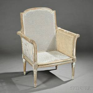 Louis XVIstyle Painted Beechwood and Caned Bergere