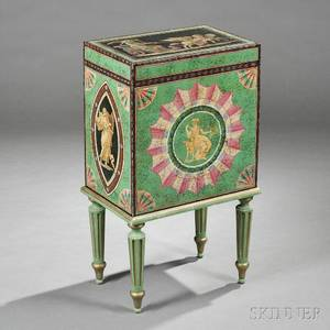 Neoclassicalstyle Polychromepainted Hat Box on Stand