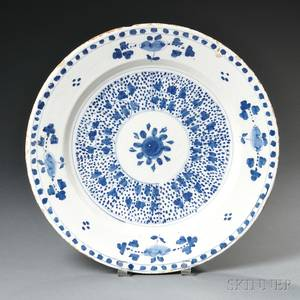 Delftware Blue and White Floraldecorated Charger