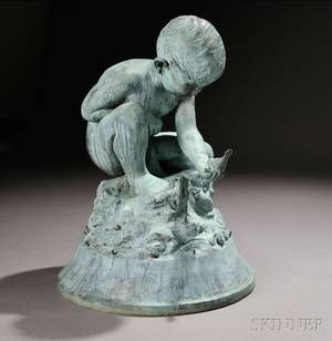 Bashka Paeff RussianAmerican 18931979 Bronze Figure of a Boy and Bird