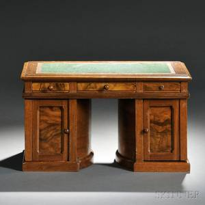 Wooton Walnut and Burl Walnut Standard Grade Rotary Desk Sales Model