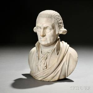 American School 19th Century White Marble Bust of George Washington