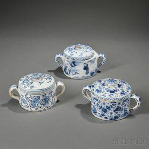 Three Dutch Delft Posset Pots and Covers