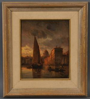 School of David Roberts British 17961864 Sailboats in Venice at Dusk