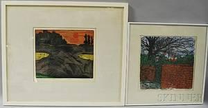 Three Framed Prints Karl Schrag American 19121995 Evening Sun  Low Tide