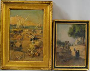 Continental School 20th Century Two Paintings with North African Subjects