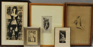 American and Continental School 19th and 20th Century Five Framed Prints of Female Nudes
