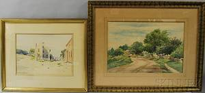 Hendricks A Hallett American 18471921 Two Watercolors Beach Houses with View to the Ocean