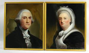 Attributed to William Matthew Prior American 18061873 Pair of Reversepainted Portraits of George and Martha Washington