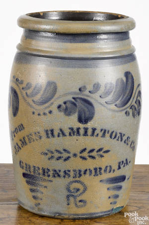 Western Pennsylvania twogallon stoneware crock 19th c