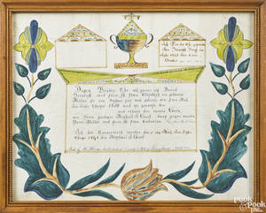 Henry Hanes 18251899 Westmoreland County Pennsylvania ink and watercolor fraktur birth certificate