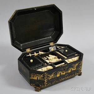 Chinese Export Blacklacquered Sewing Box