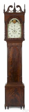 Philadelphia Federal mahogany tall case clock ca 1815