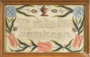 John George Busyaeger 17741843 Westmoreland County Pennsylvania pen ink and watercolor fraktur birth certificate
