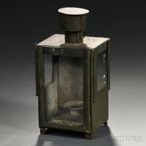 Greenpainted Tin and Glass Lantern