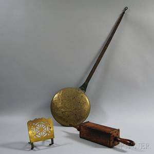 Bellows a Pierced Brass Trivet and a Wrought Iron and Brass Bedwarmer