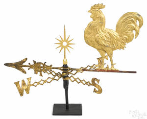 Swellbodied zinc rooster weathervane late 19th c