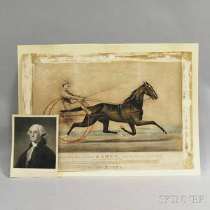 Photomechanical Currier amp Ives Print and an Engraving of George Washington