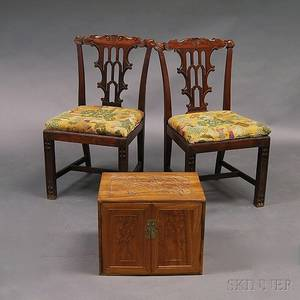 Pair of Chinese Export Carved Hardwood Side Chairs