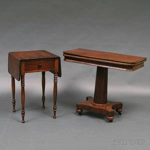 Federal Cherry Onedrawer Worktable and a William IV Mahogany Game Table