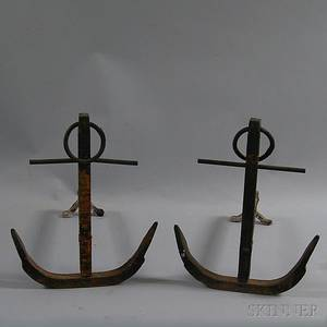 Pair of Cast Iron Anchor Andirons