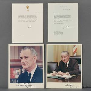 Johnson Lyndon B 19081973 Two Signed Color Photographs Typed Letter Signed and Printed Statement Signed