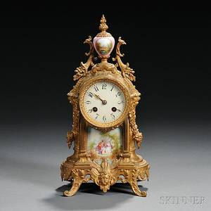 French Giltbrass and Porcelain Shelf Clock