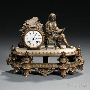 French Gilt Bronze Figural Clock Depicting Denis Papin