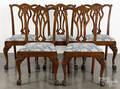 Set of seven George III style mahogany dining chairs