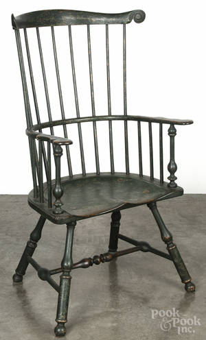 Contemporary painted fanback Windsor armchair retaining a green surface