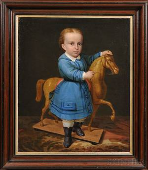 Portrait of a Boy with His Horse Pull Toy